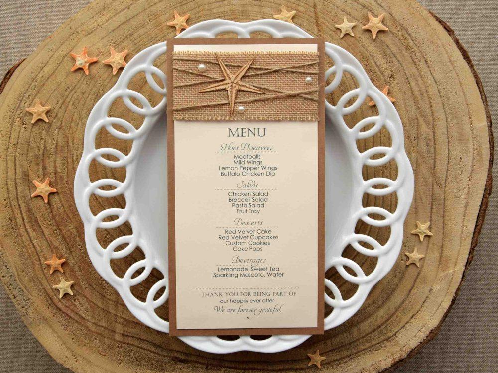 Destination Wedding Dinner Menu