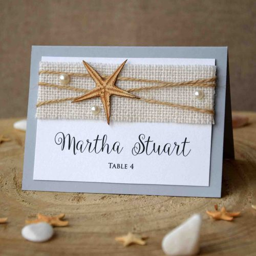 Rustic Folded Beach Place Cards