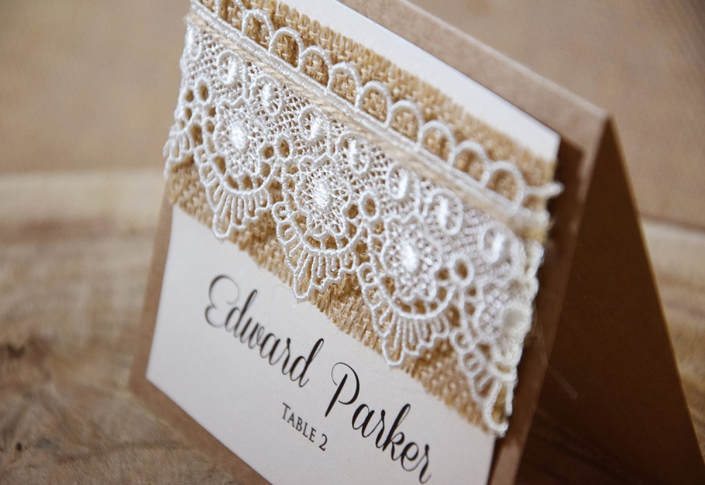 Chic Place rustic chic place name cards, personalized lace wedding place cards