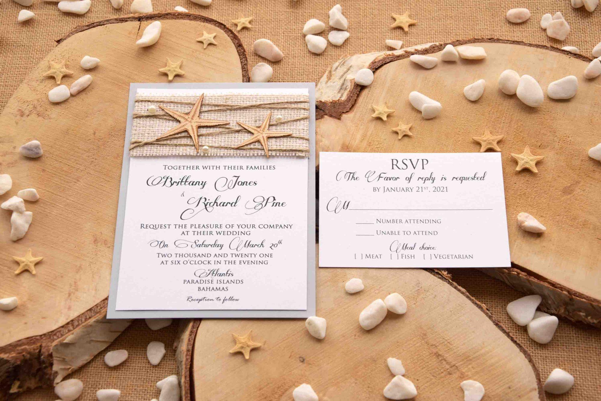 Beach Burlap Wedding Invitations