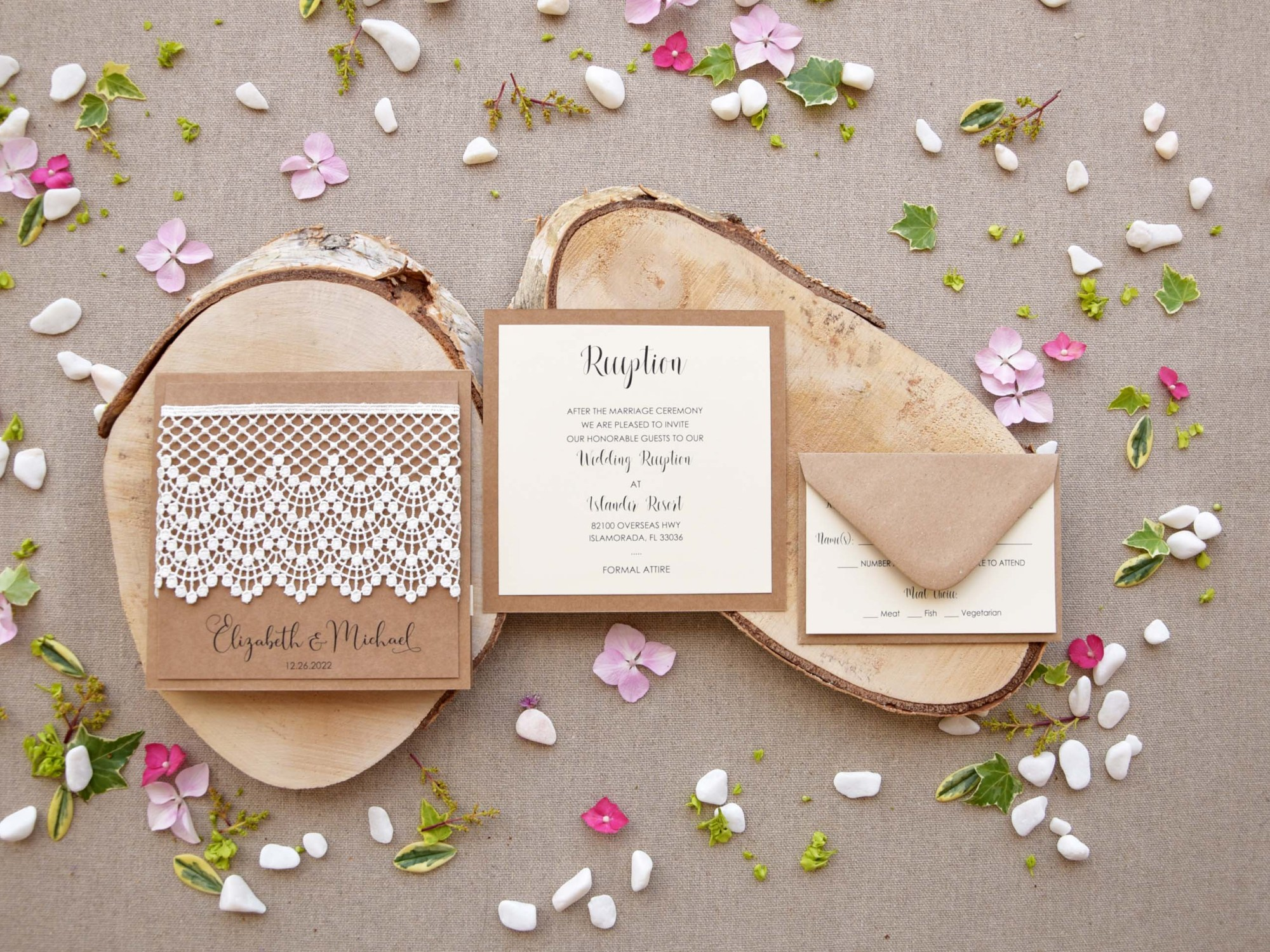Rustic Lace Wedding Invitation Kits