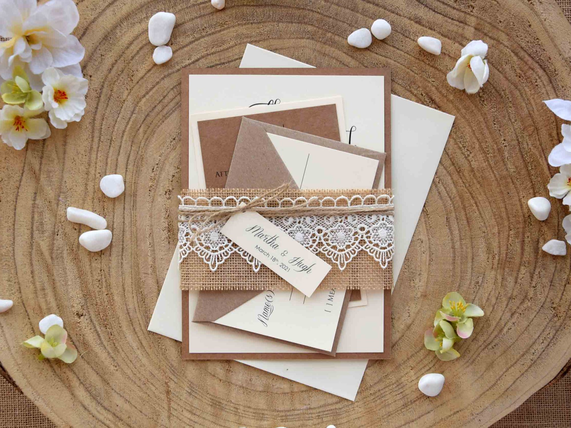 Burlap and Lace Wedding Invitations Kit