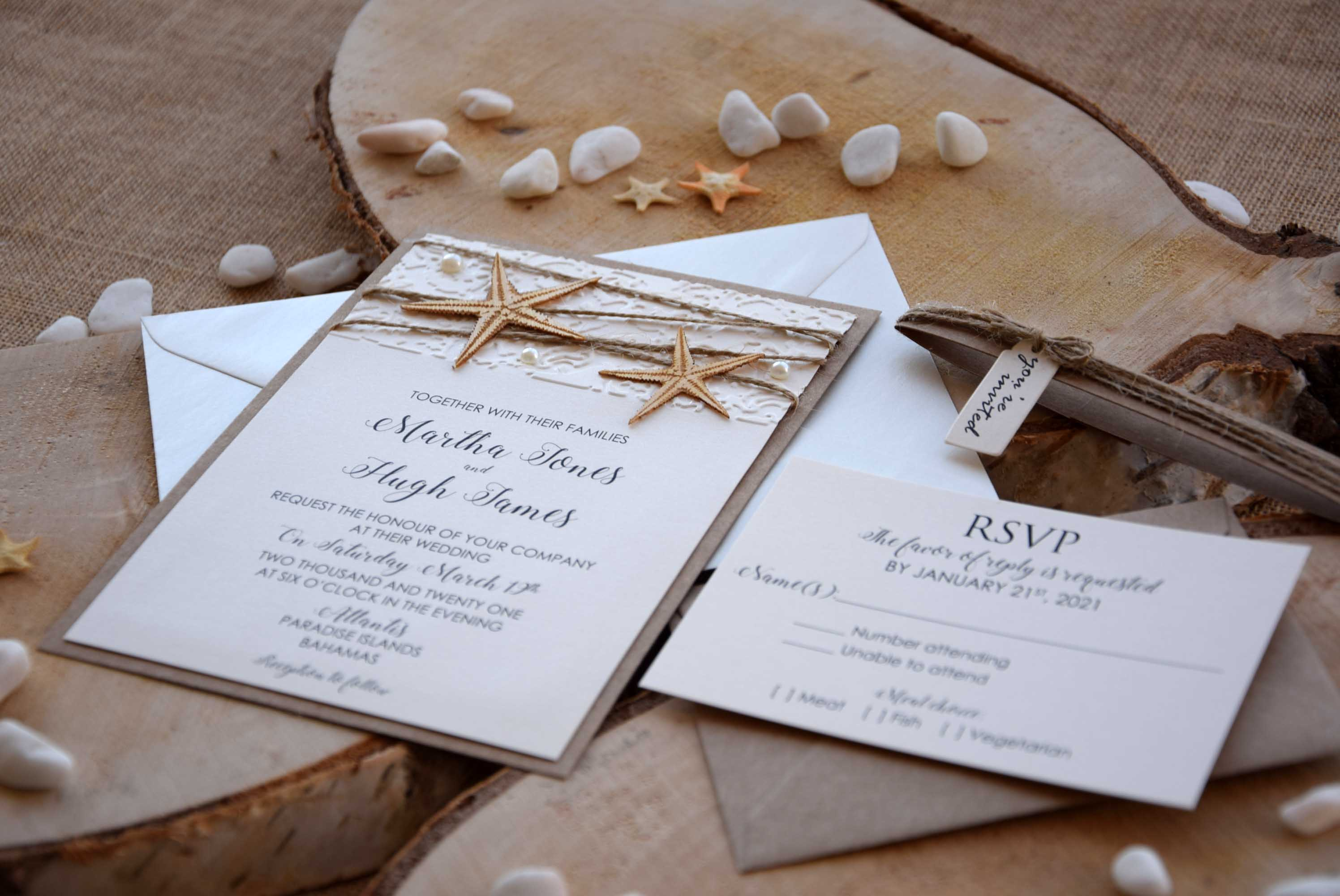 Custom Beach Wedding Invitations