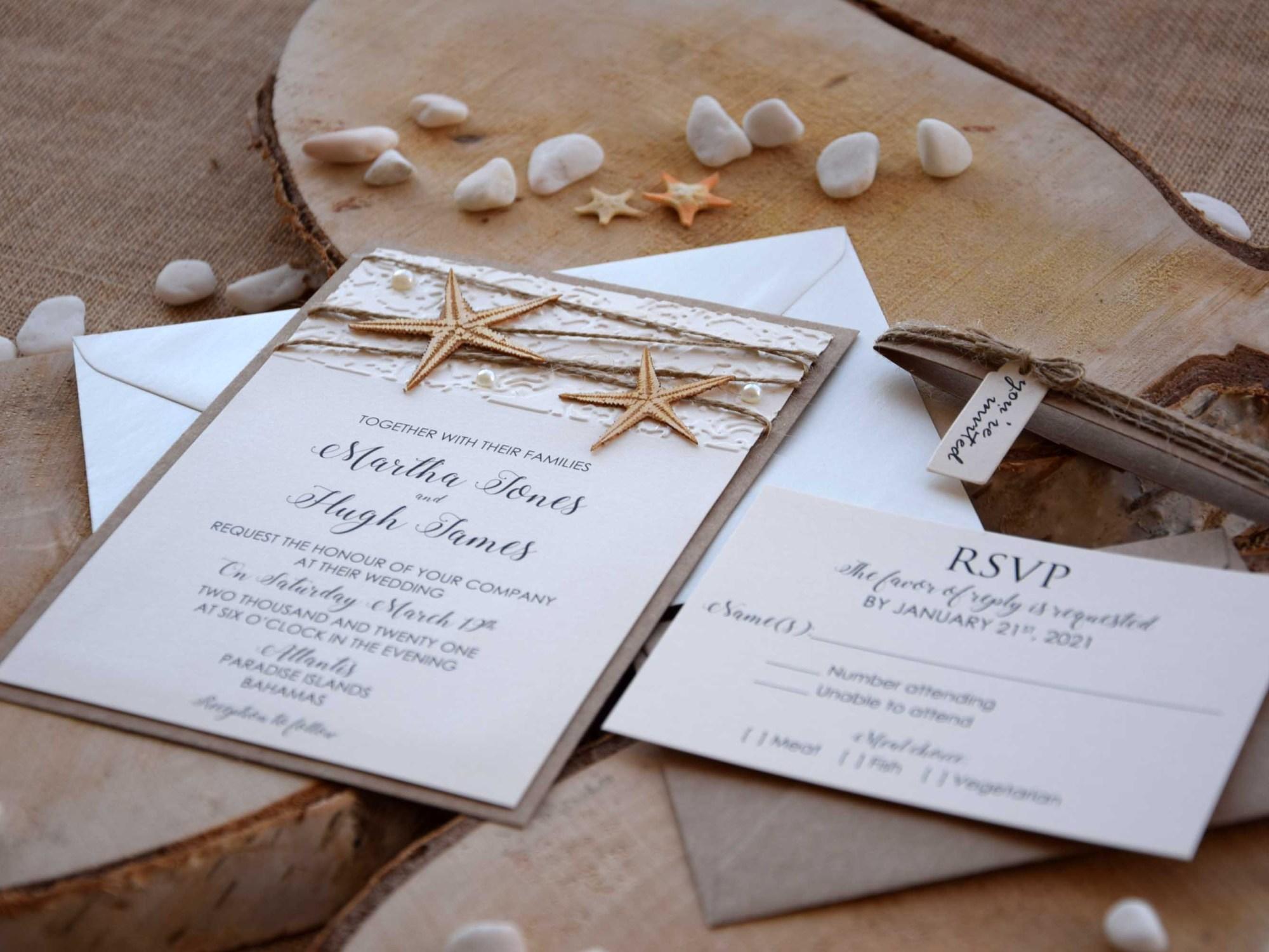 Custom Beach Wedding Invitations