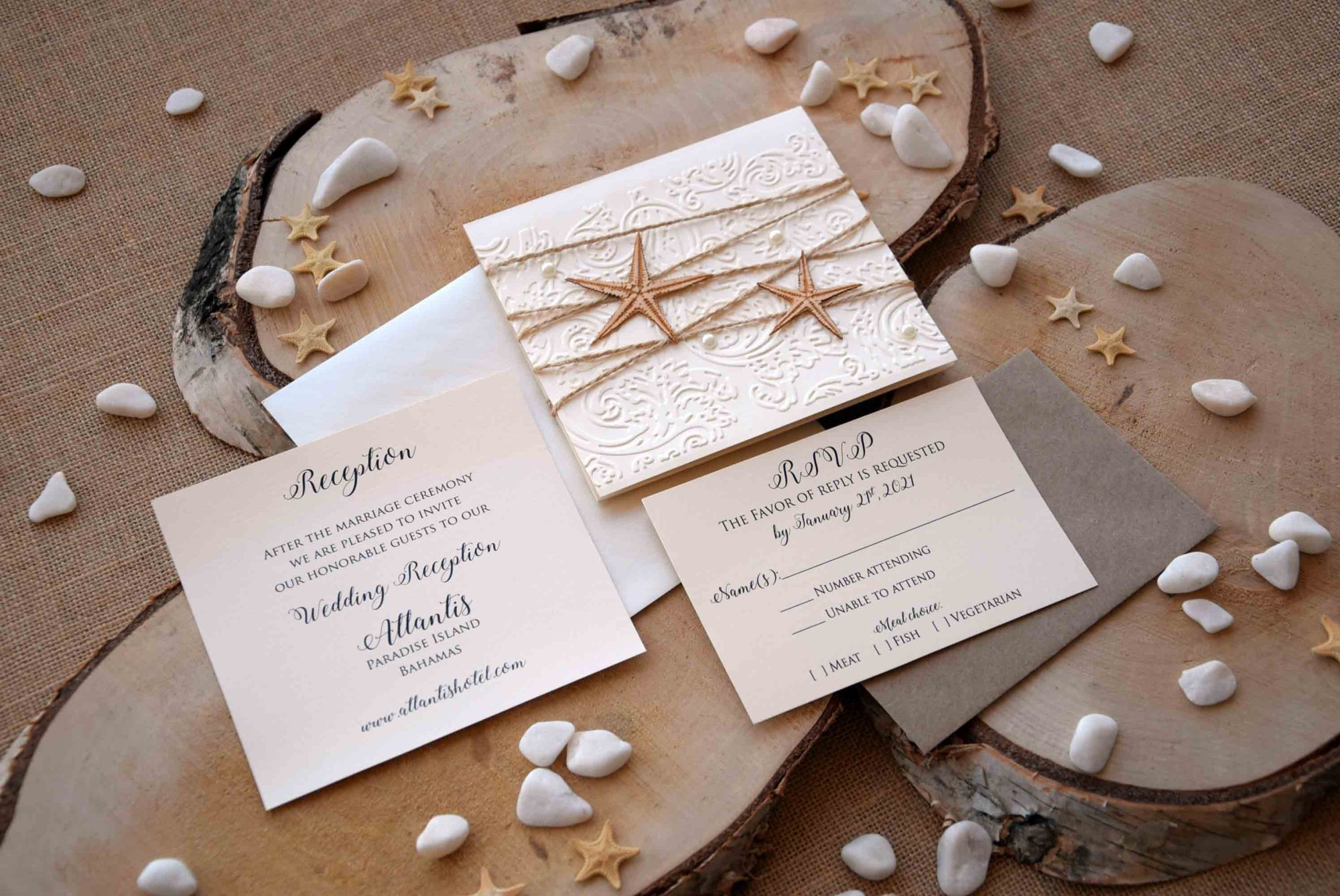 Luxury Beach Wedding Invitations