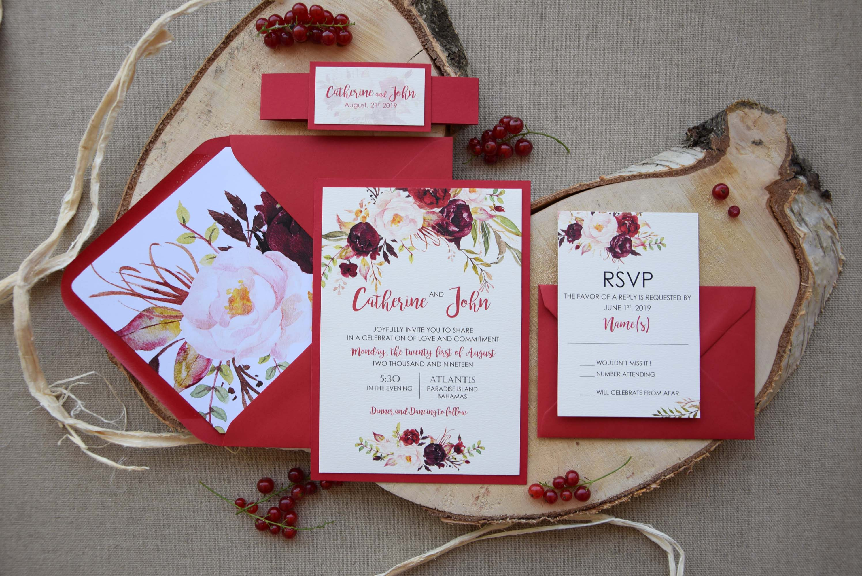 Autumn Shabby Chic Wedding Invitations Floral Wedding Invitations