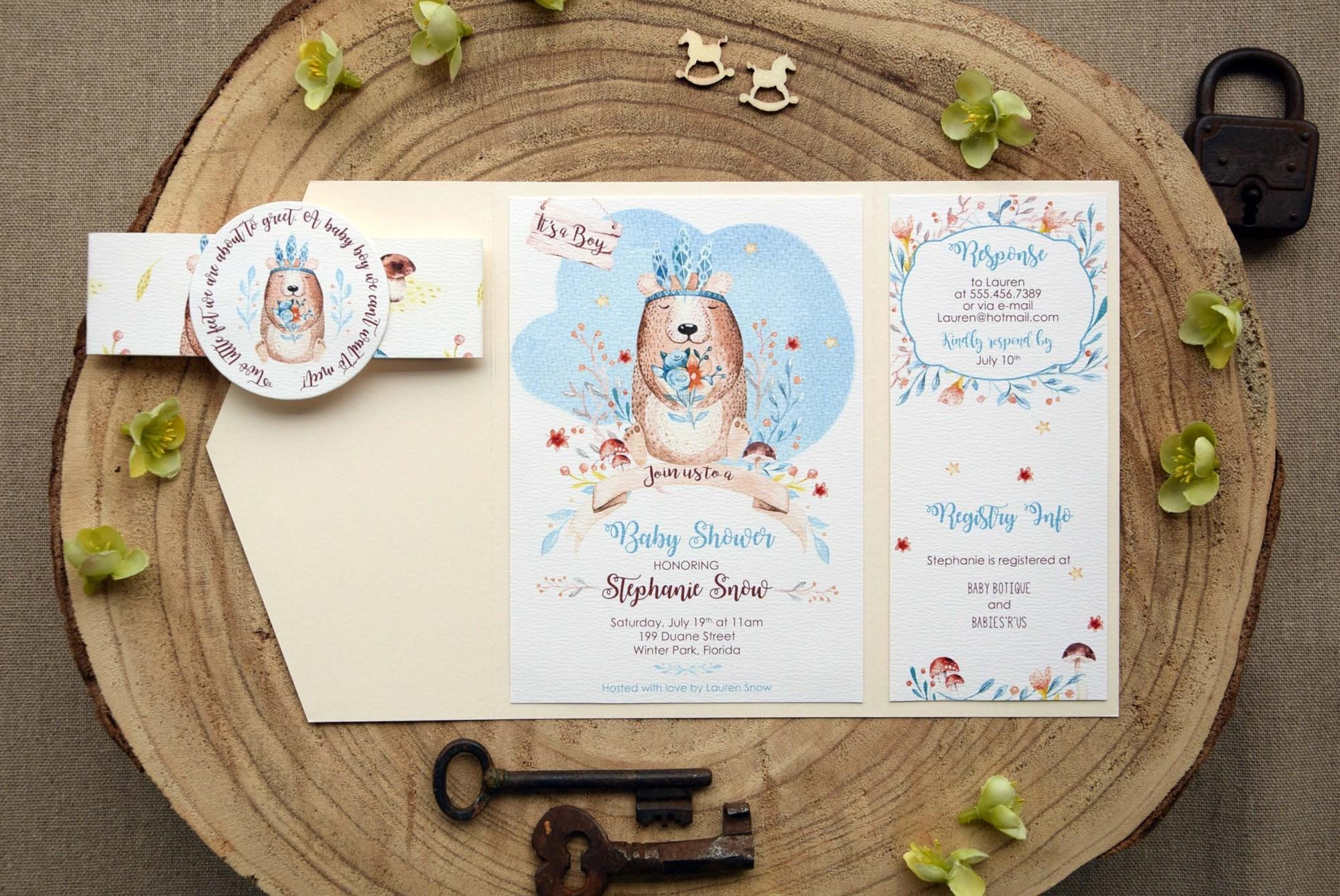Pocket Baby Shower Invitations for Boys