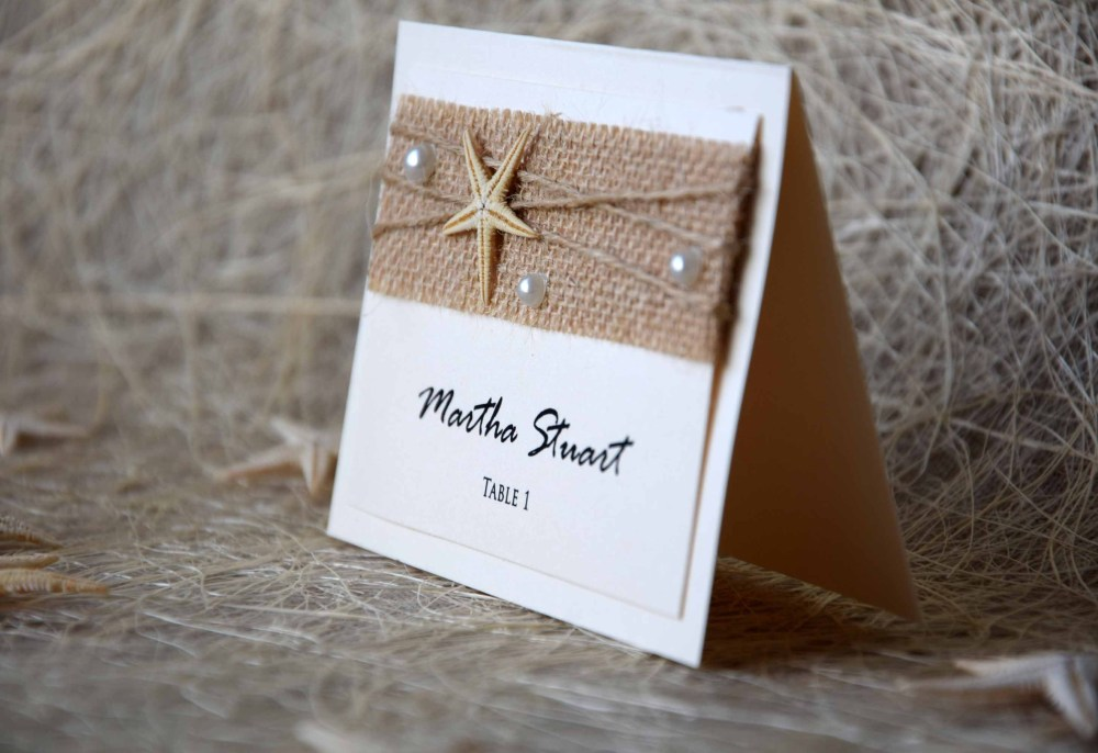 Ivory Beach Wedding Place Cards, Rustic Chic Wedding Place Name Card