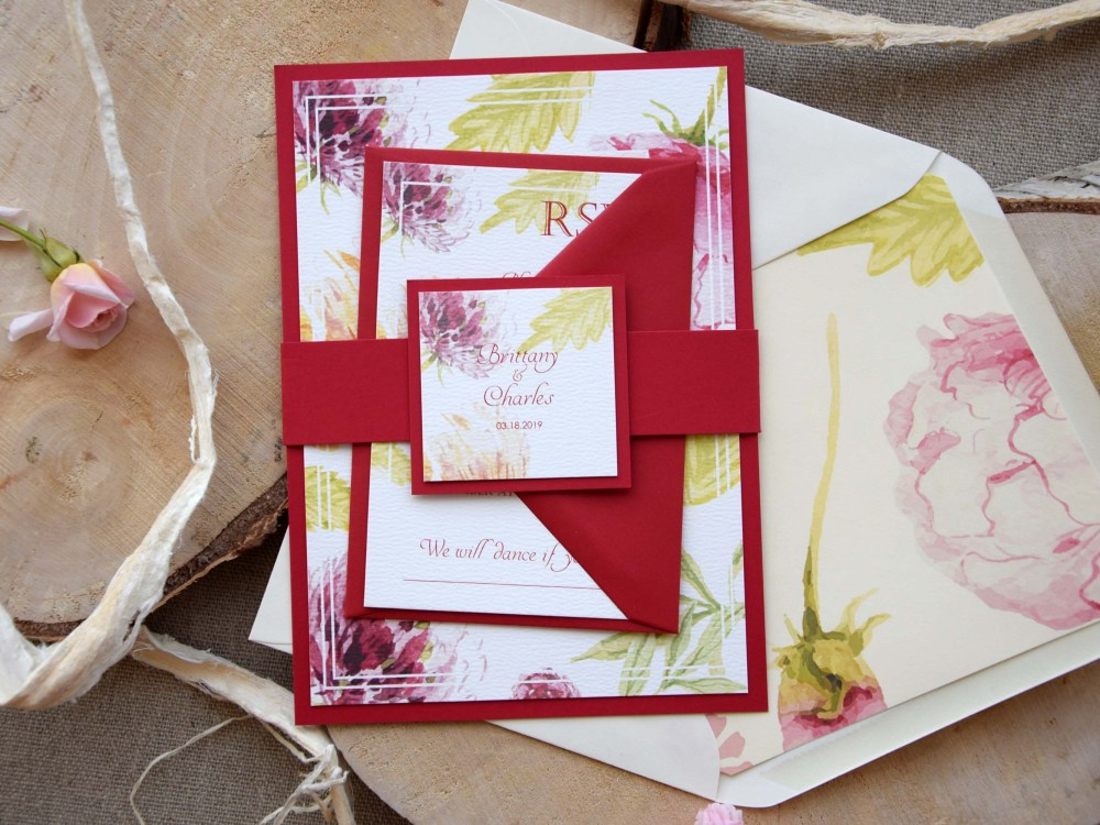 Burgundy Floral Wedding Invitations