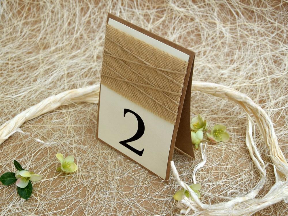 Simple Burlap Wedding Table Numbers