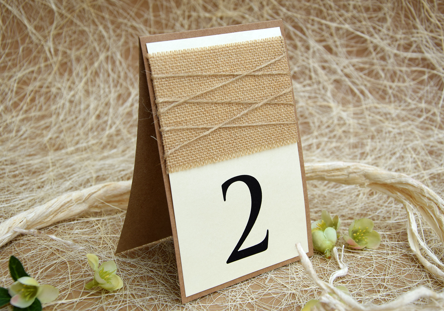 Simple Burlap Wedding Table Numbers