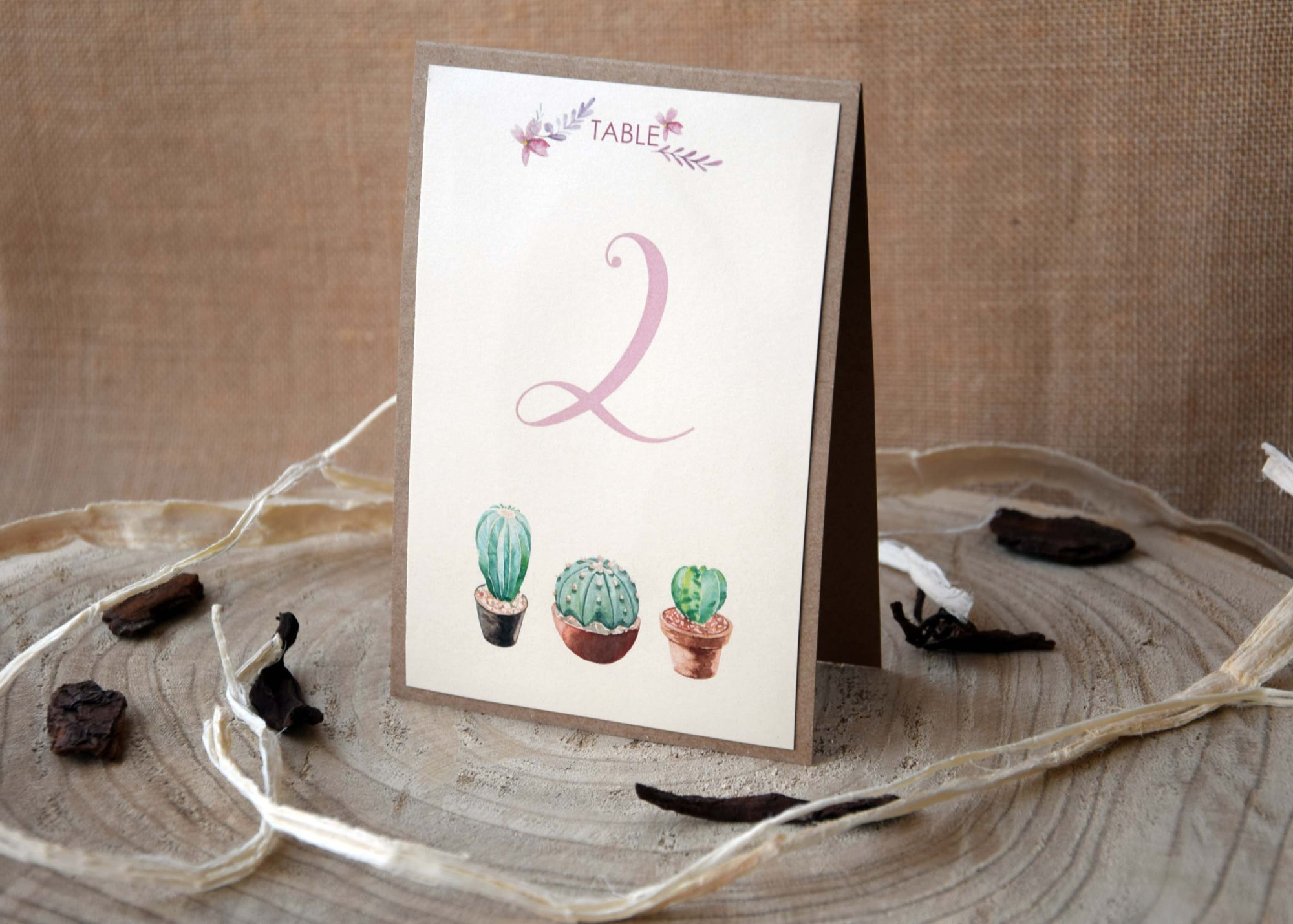 Cactus Wedding Table Numbers