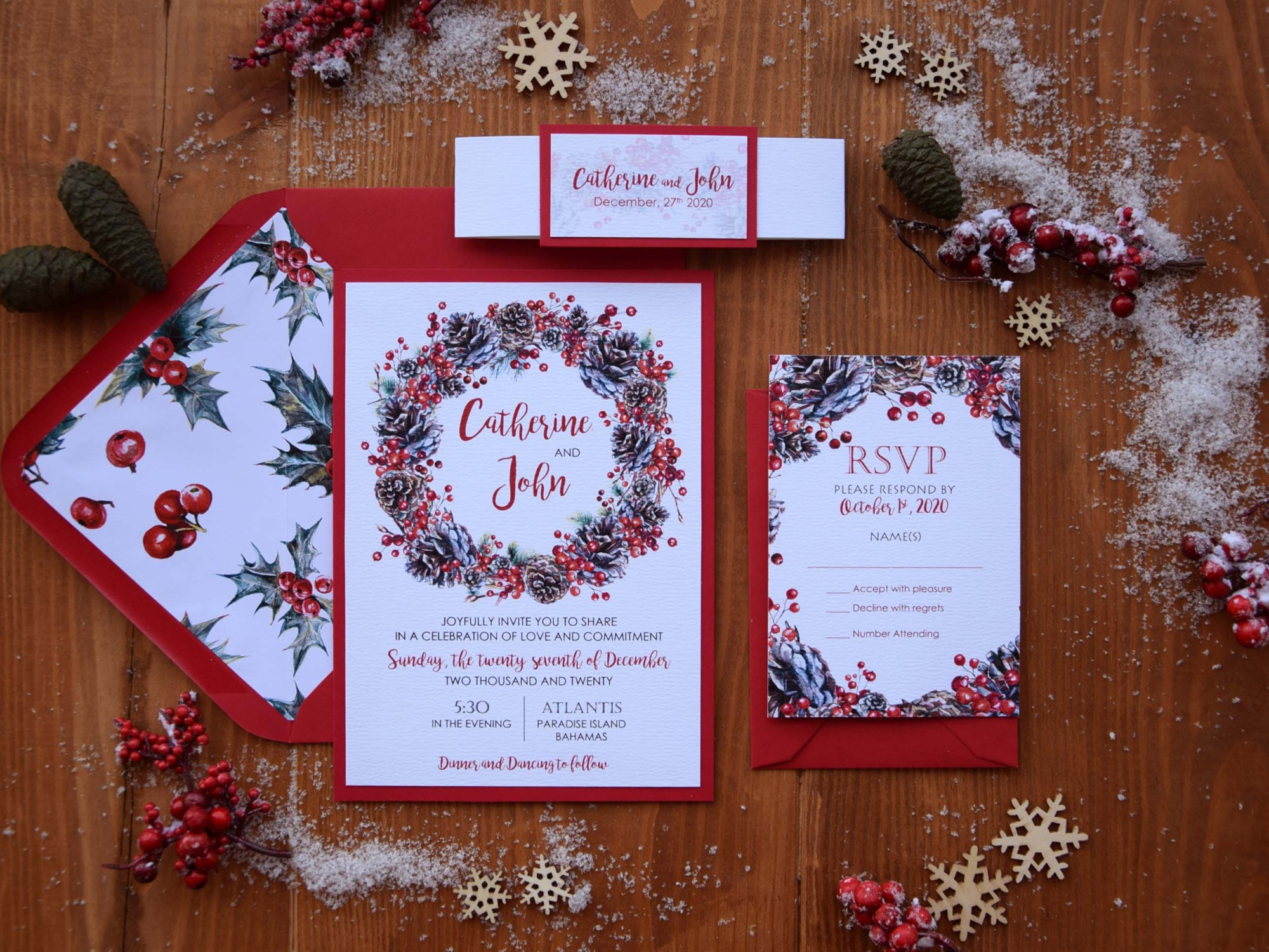 Christmas Wreath Wedding Invitations