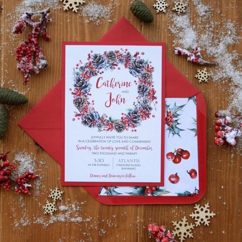 Christmas Wreath Wedding Invitations