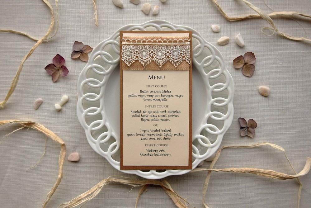 Lace Bridal Shower Dinner Menu