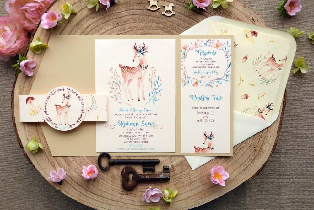 Elegant Baby Shower Invitations, Woodland Baby Girl Baby Shower