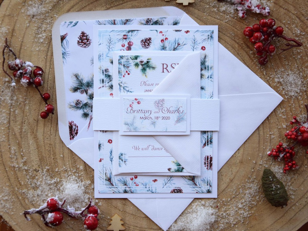Elegant Christmas Wedding Invitations