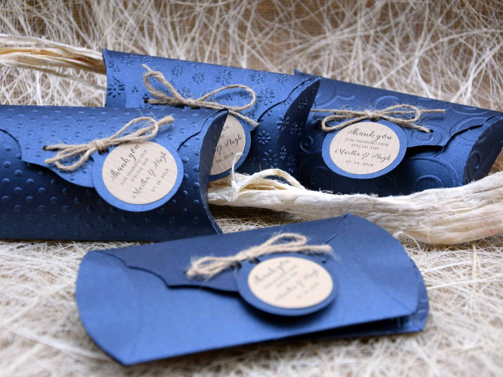 Blue Wedding Favor Pillow Boxes