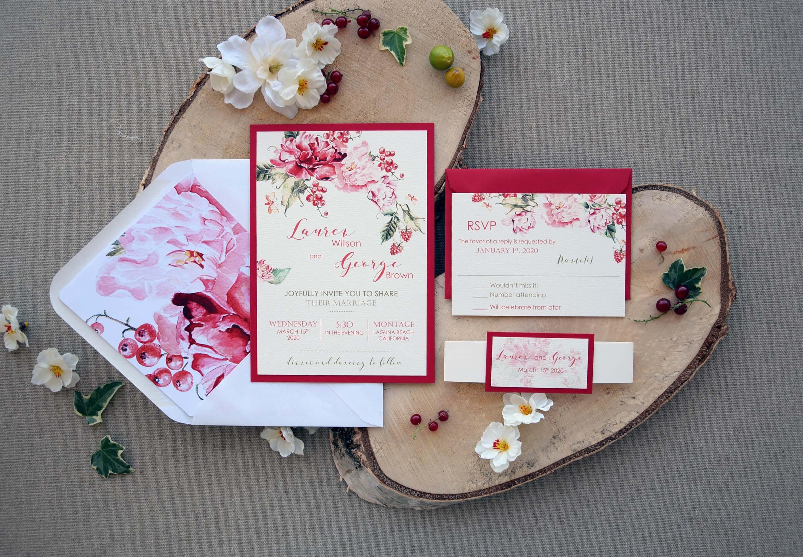 Customized Wedding Invitations: Colorful Customized Wedding Invitations Card, Red