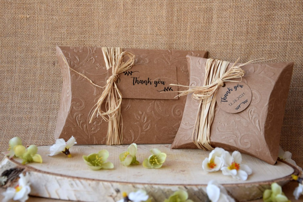 Rustic Wedding Favor Boxes, Craft Pillow Boxes, Party Large Pillow Boxes