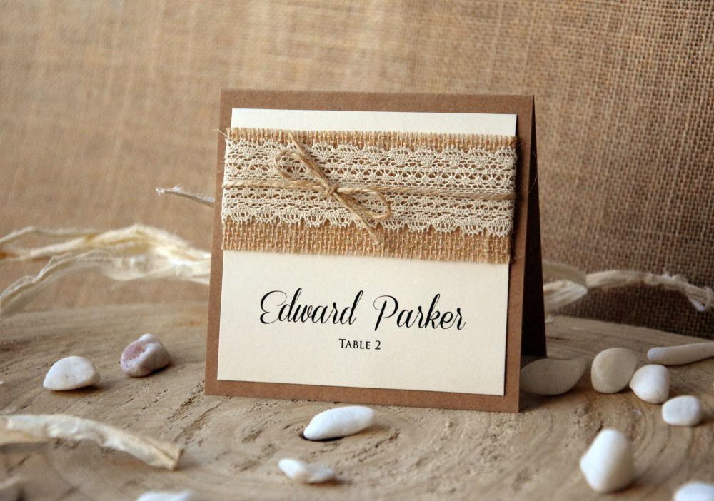 Rustic Wedding Place Cards Folded Personalized Lace Place Cards