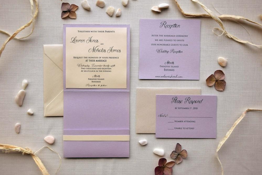 Lavender Wedding Invitations, Lace Pocketfold Wedding Invitations