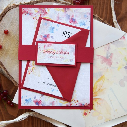 Marsala Watercolor Wedding Invitations