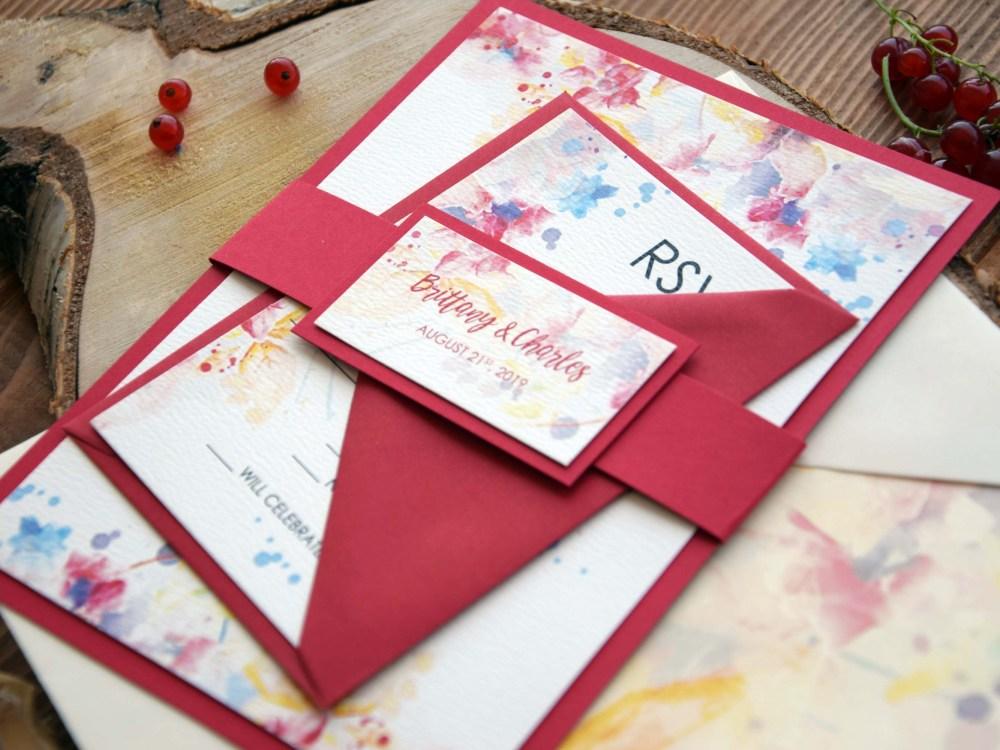 Marsala Watercolor Wedding Invitations