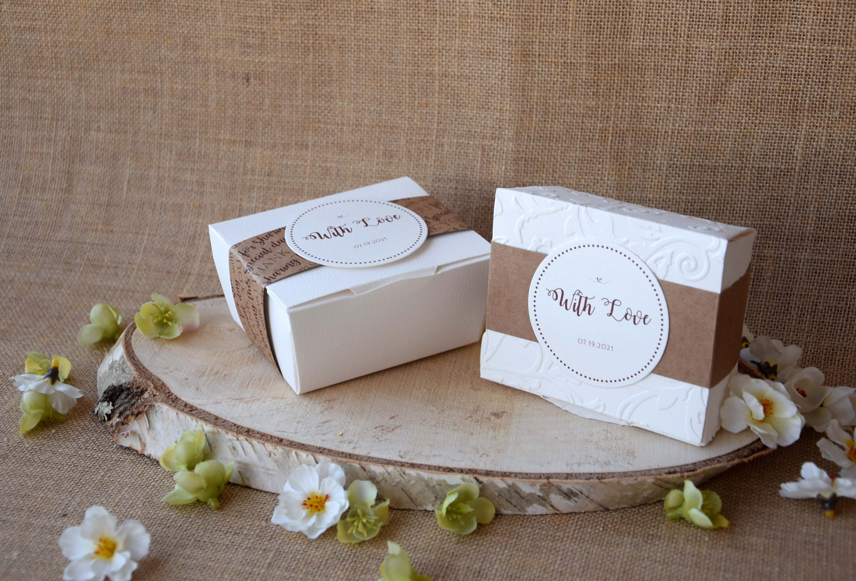 Square Elegant Party Favor Boxes, White Gift Boxes, Party Favor Boxes