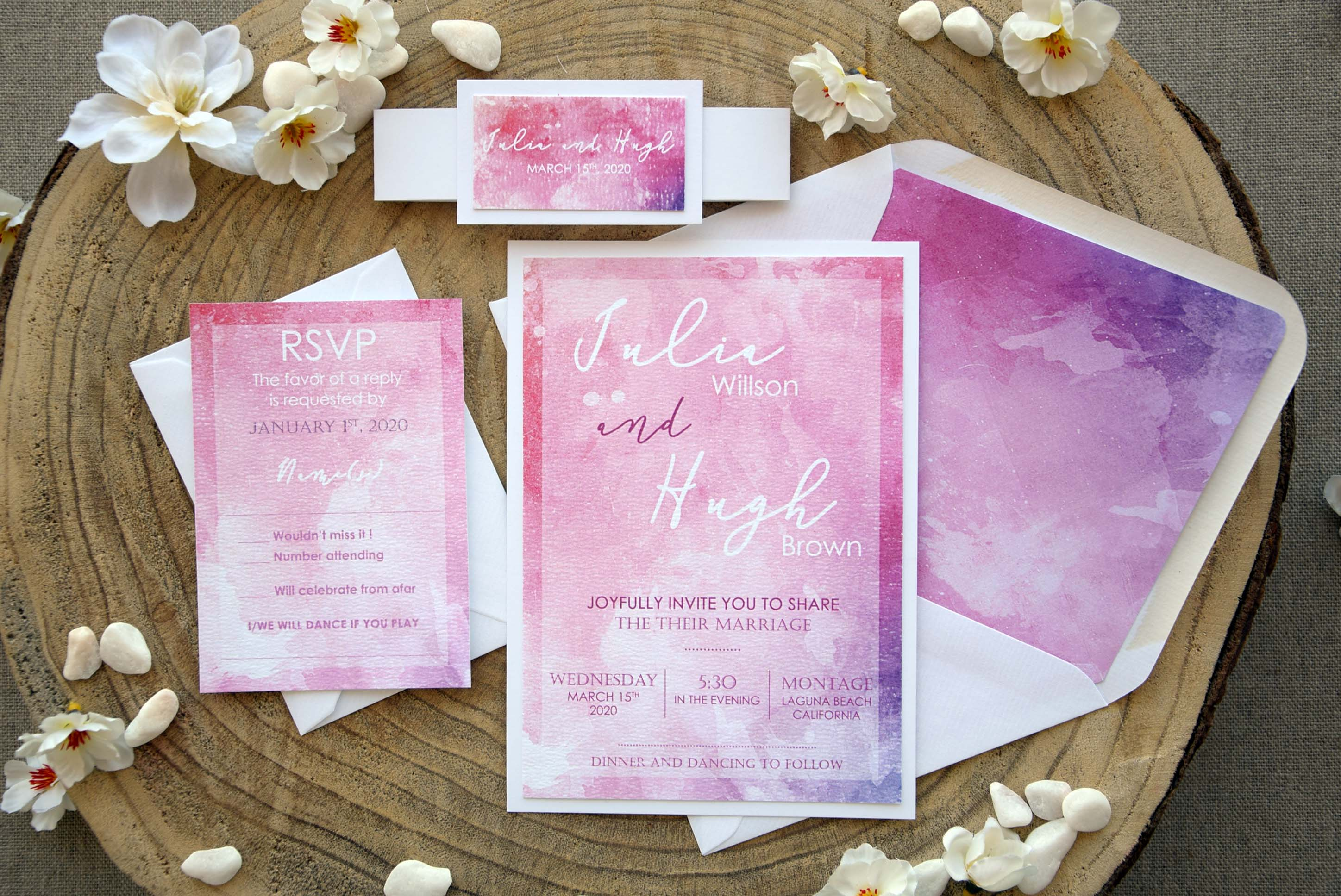 Pink Watercolor Wedding Invitations, Pink Modern Wedding Invitations