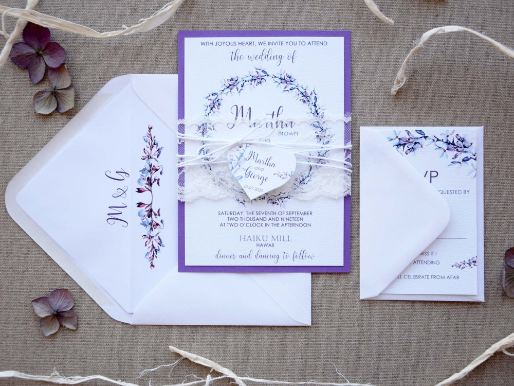 Purple Wreath Wedding Invitations