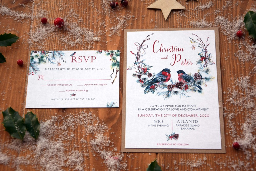 Rustic Christmas Wedding Invitations, Romantic Birds Wedding Invitation