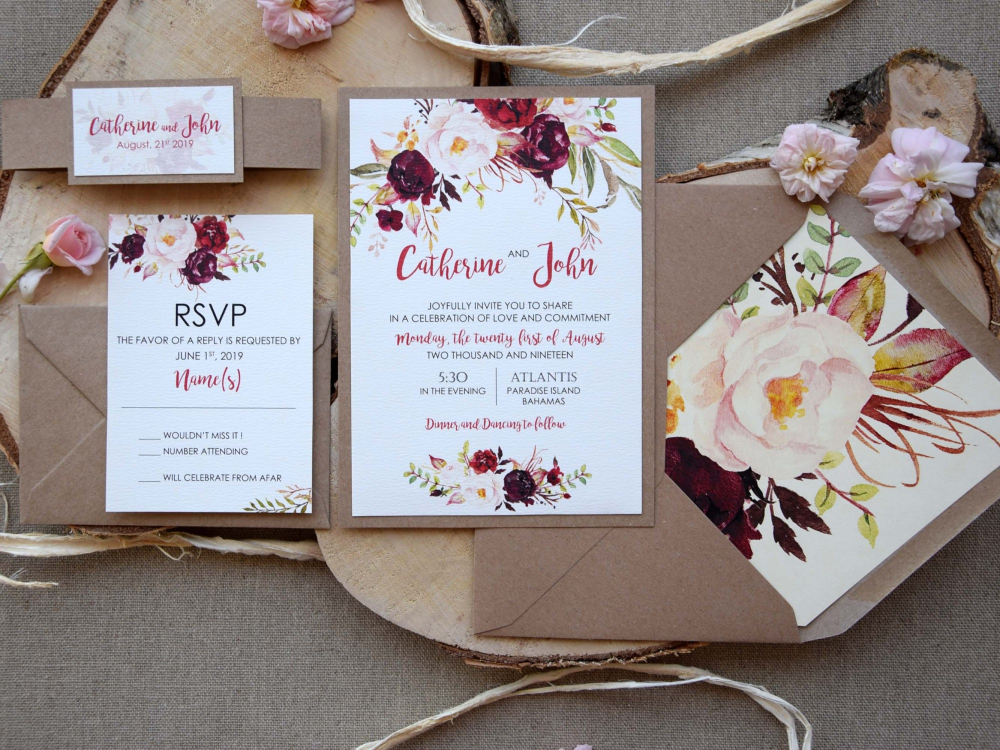 Rustic Chic Floral Wedding Invitations
