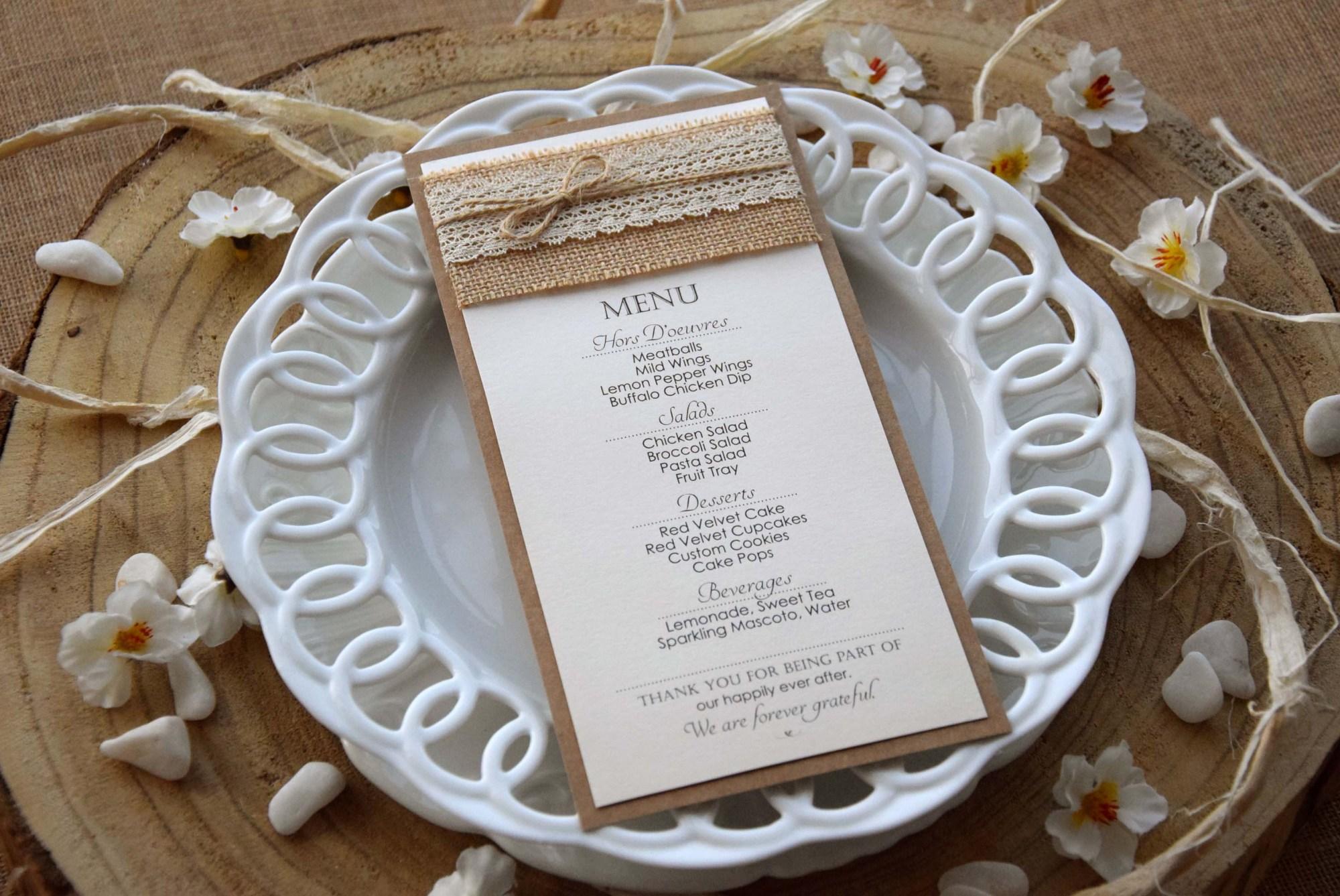 Ivory Rustic Lace Wedding Dinner Menu