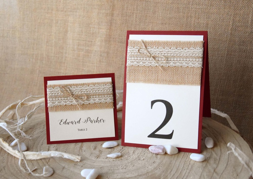 Burgundy Rustic Wedding Place Cards Rustic Lace Wedding Place Cards