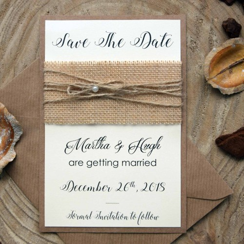 Burlap Wedding Save The Date Cards
