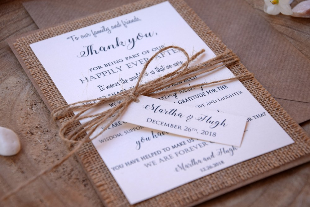 burlap personalized thank you cards - Personalized Thank You Cards