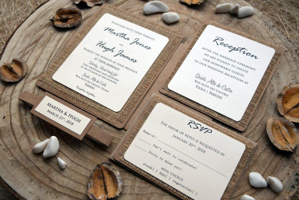 Country Burlap Wedding Invitations