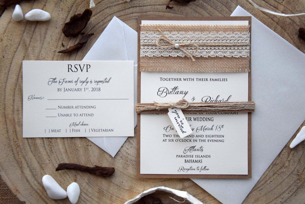 Burlap and Lace Marriage Invitations