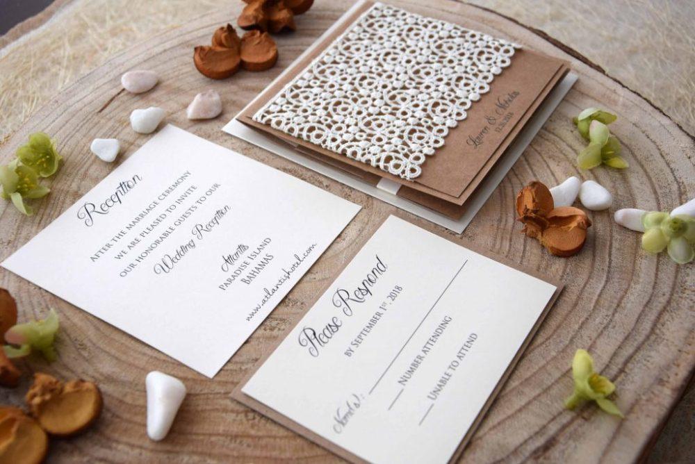 Lace Pocketfold Wedding Invitations