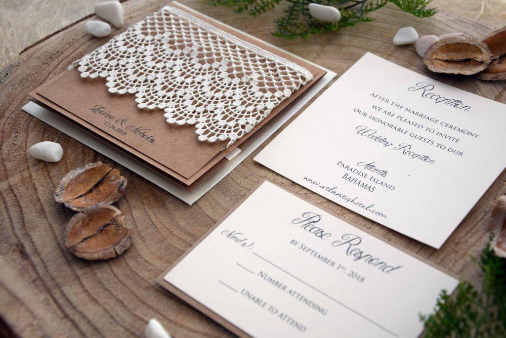 Rustic Lace Wedding Invitation Kits