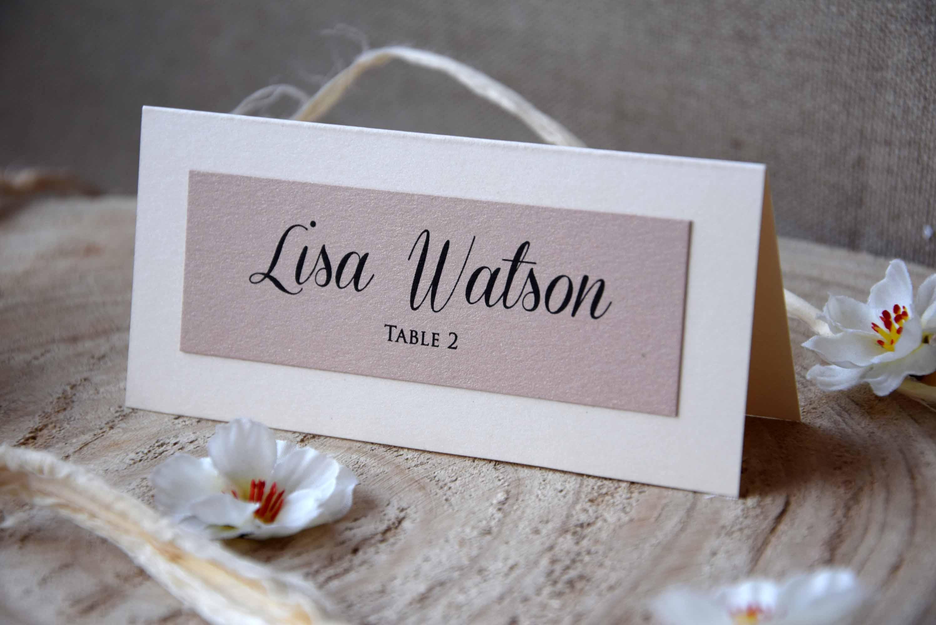 simple wedding place name cards elegant simple ivory