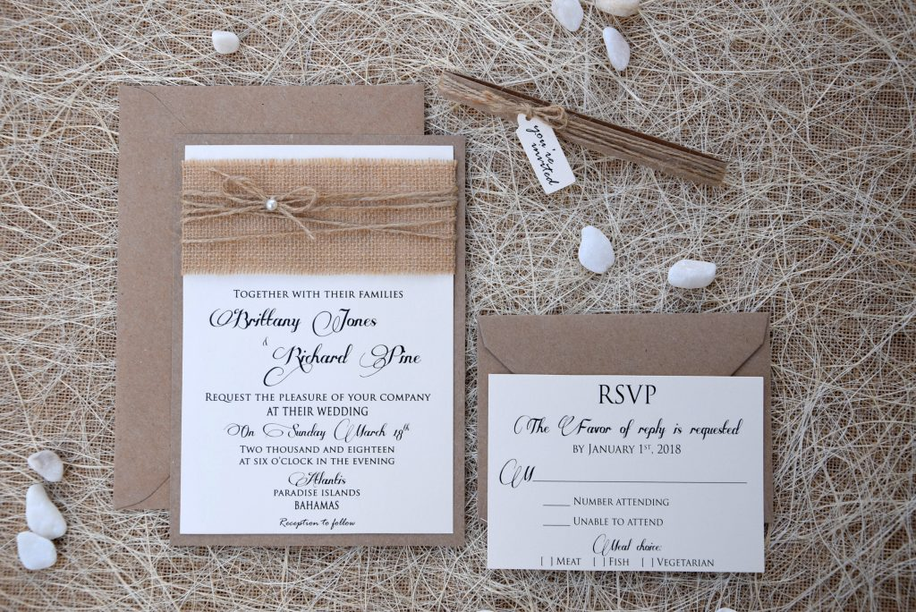 Simple Wedding Invitations with rsvp