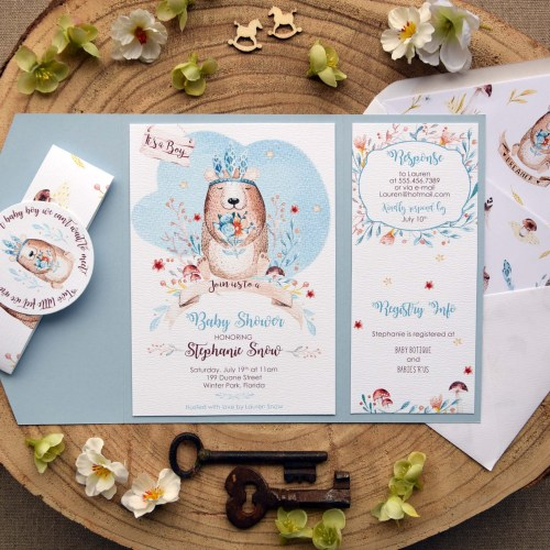 Unique Blue Baby Boy Shower Invitations
