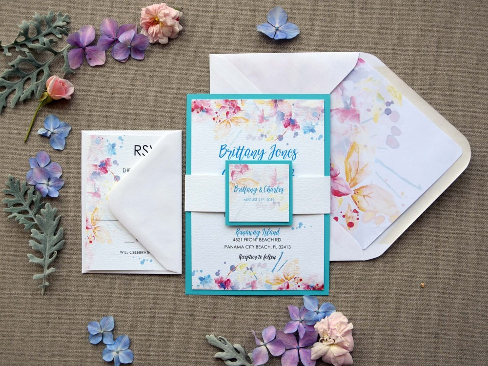 Watercolor Tiffany Blue Wedding Invitations