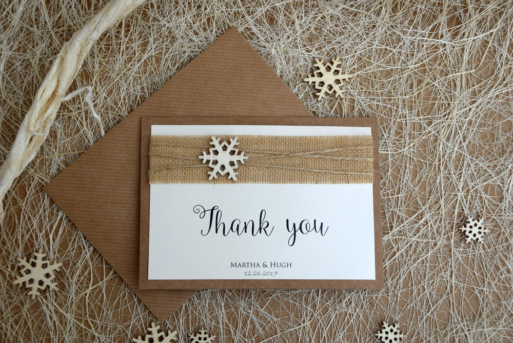 Snowflake Winter Thank You Cards