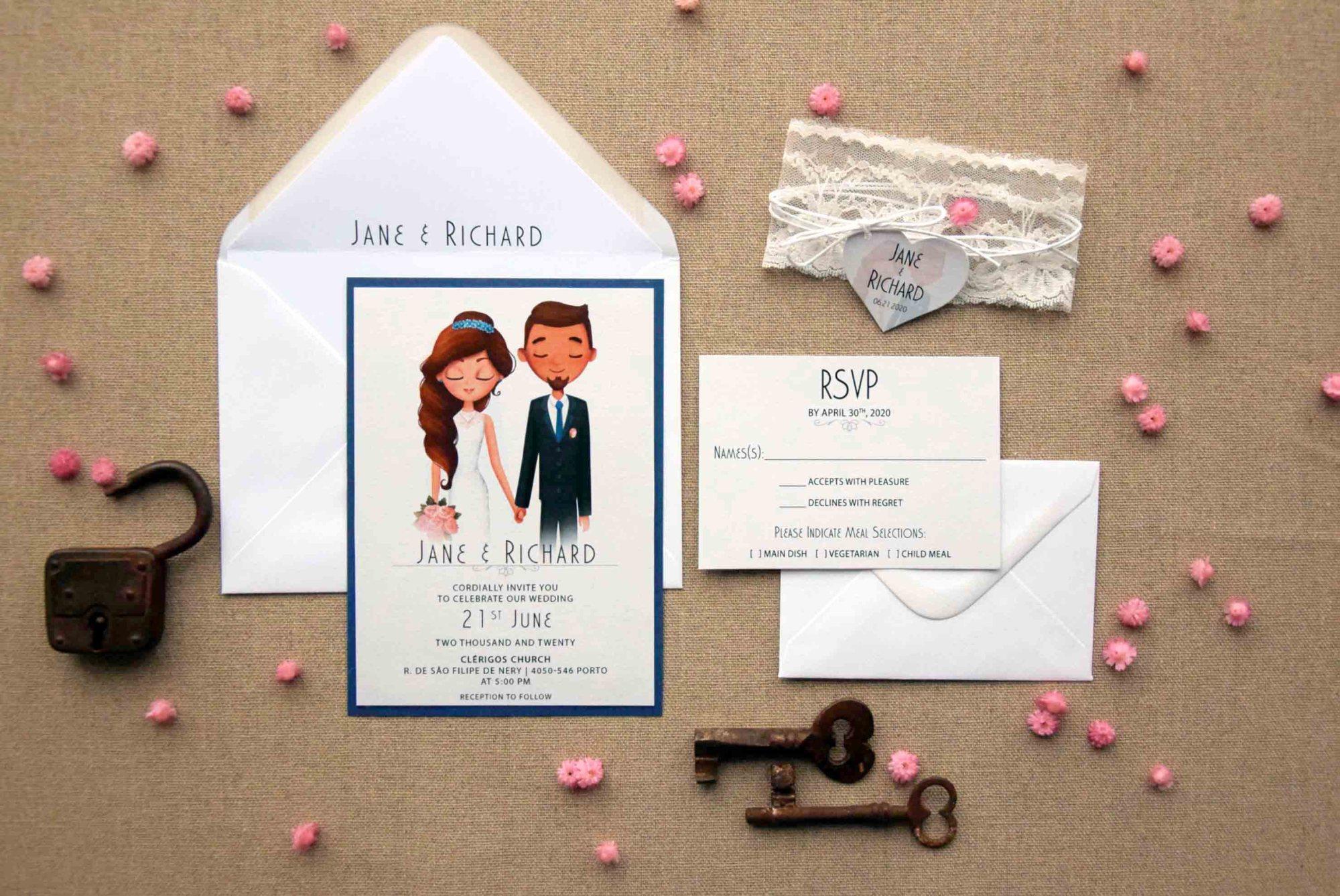 Navy and White Portrait Wedding Invitations