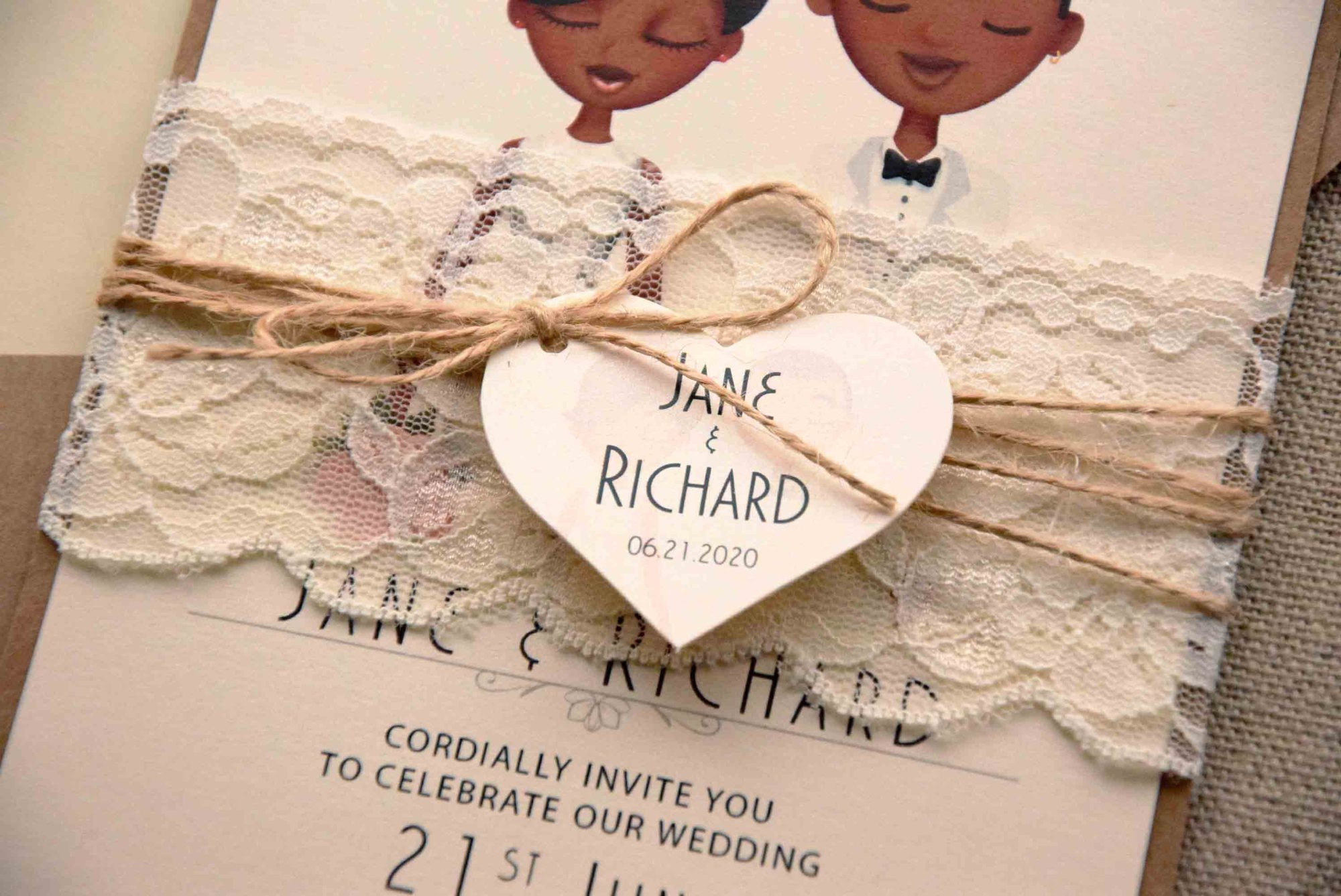 Lace Portrait Marriage Invitations