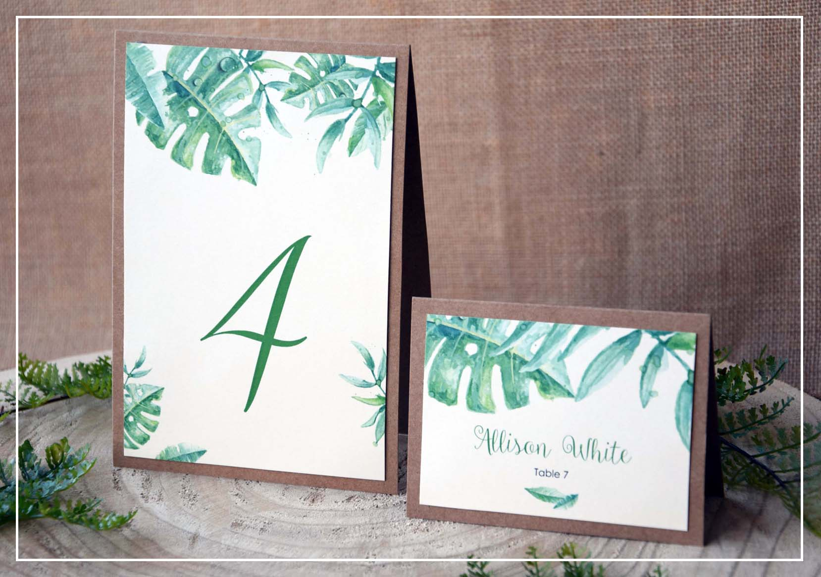 Place Cards and Table Numbers
