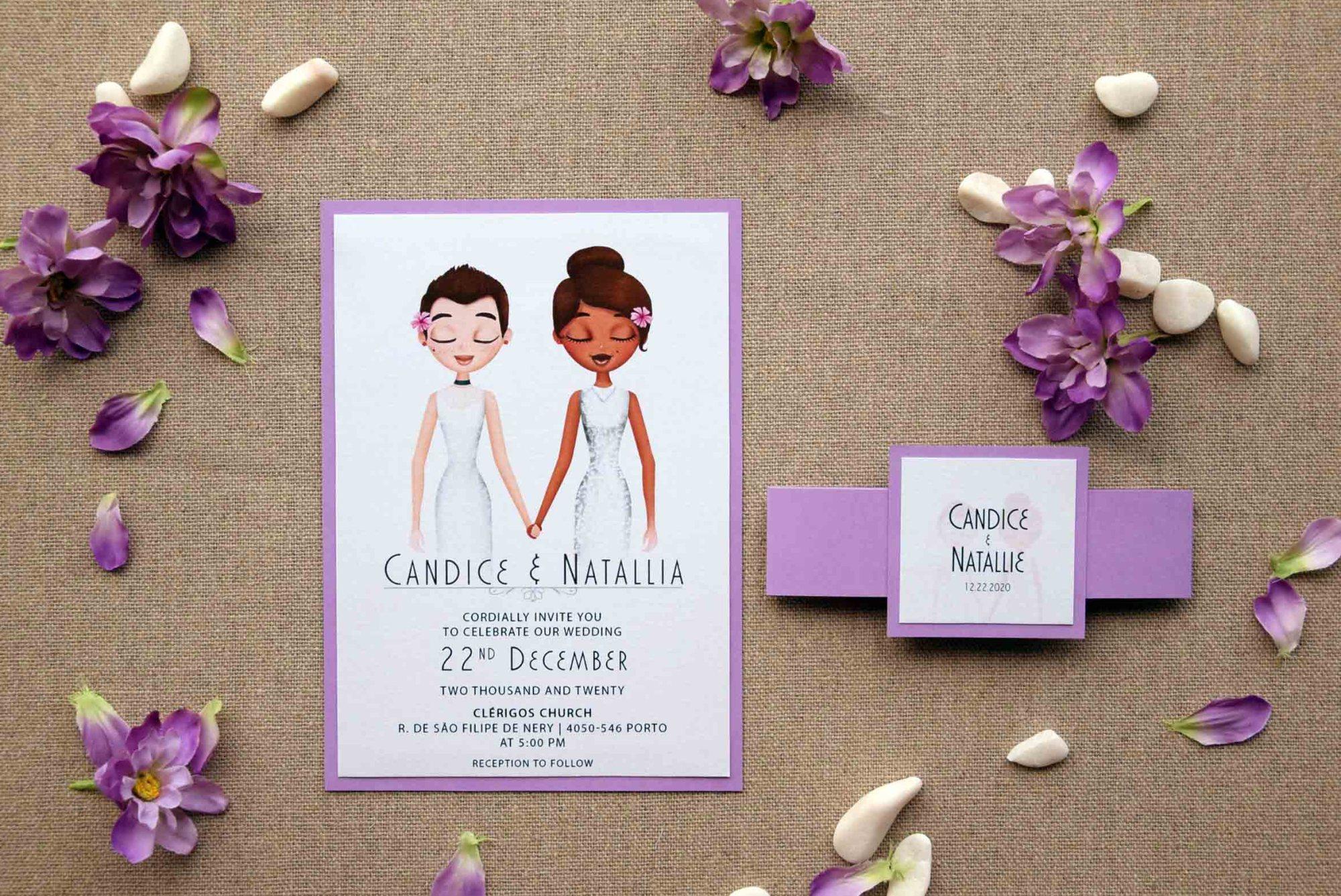 Lilac Portrait Wedding Invitations